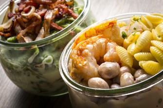 Späetzle con pancetta affumicata, Gnocchetti sardi con borlotti e gamberi