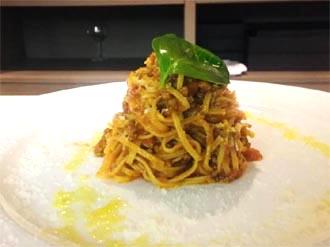 I tagliolini con scampetti, pomodori e zucchine